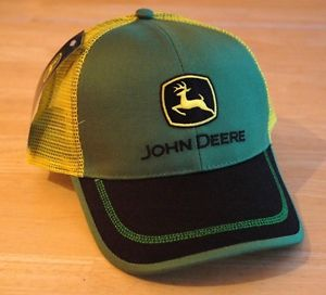 7fef769964701 John Deere Green Front Yellow Mesh Back Hat Cap w  Black Bill Contrast .