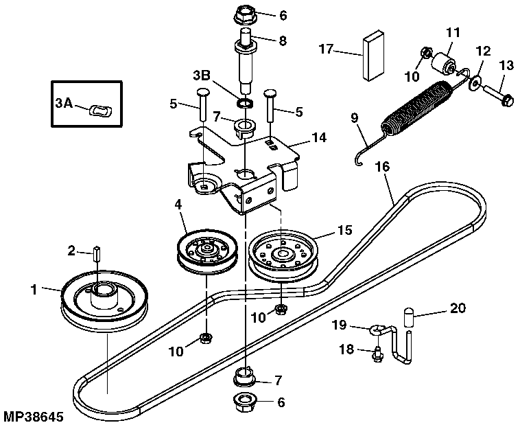 john deere f525 48 inch deck belt diagram