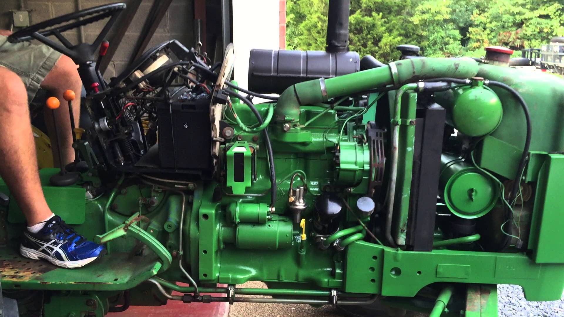 John Deere 2150 startup and leak check after transmission .