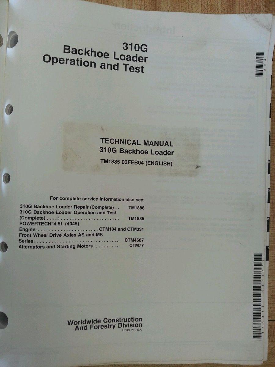 John Deere 310g Manual Manuals 650j Wiring Diagram Jd Backhoe Loader Service Technical