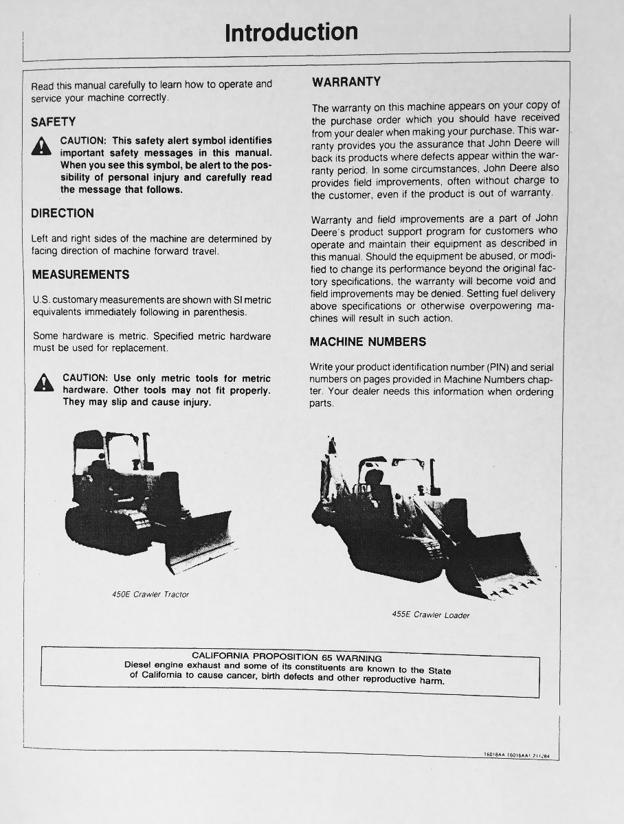 John Deere 450E Technical Manual [Bulldozer, Crawler .