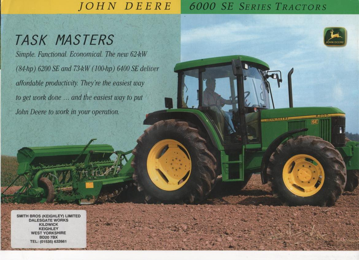 John Deere Tractor 6000 SE Series - 6200 SE and 6400 SE .
