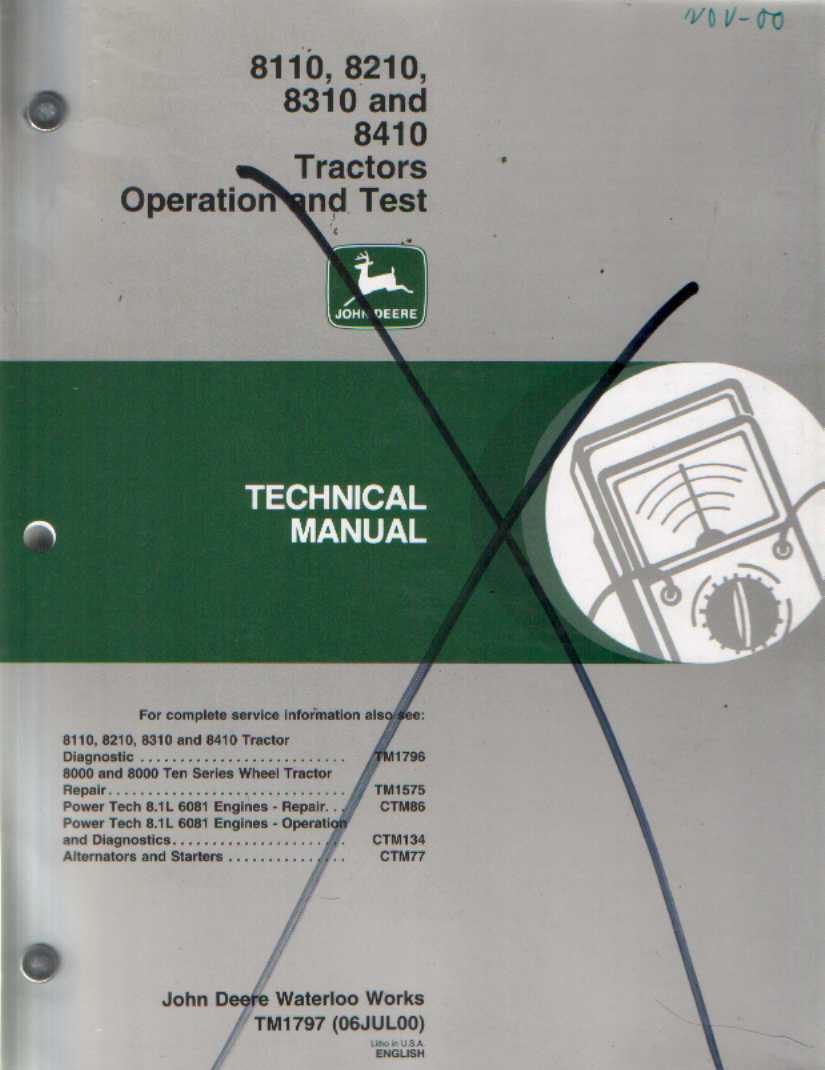 John Deere 8110 Manual Manuals 8410 Wiring Diagram Tractor 8210 8310 Operation And Test