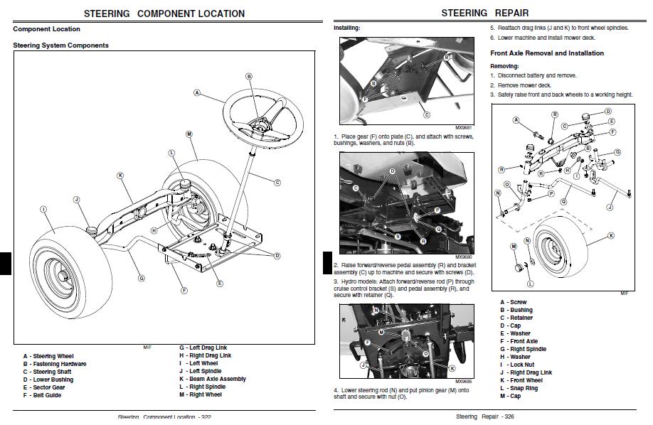 john deere l110 steering parts