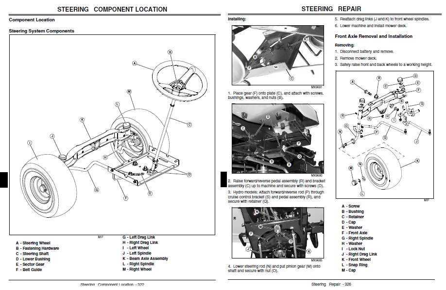 John Deere L110 Steering Parts Com