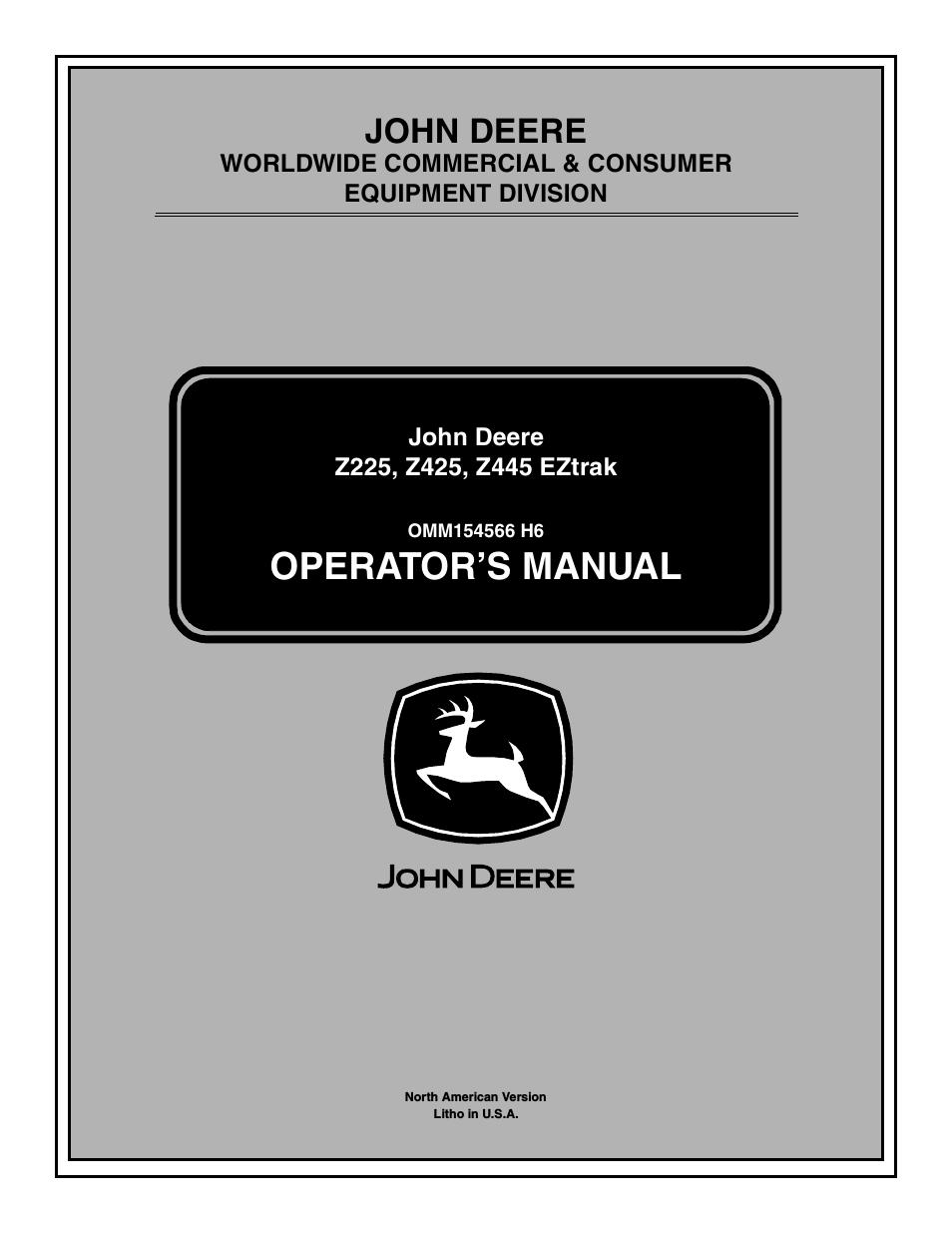 John Deere Z445 Manual Manuals. Wiring Diagram For A Z425 John Deere Get Freediagram. John Deere. John Deere D125 Wiring Schematic At Scoala.co