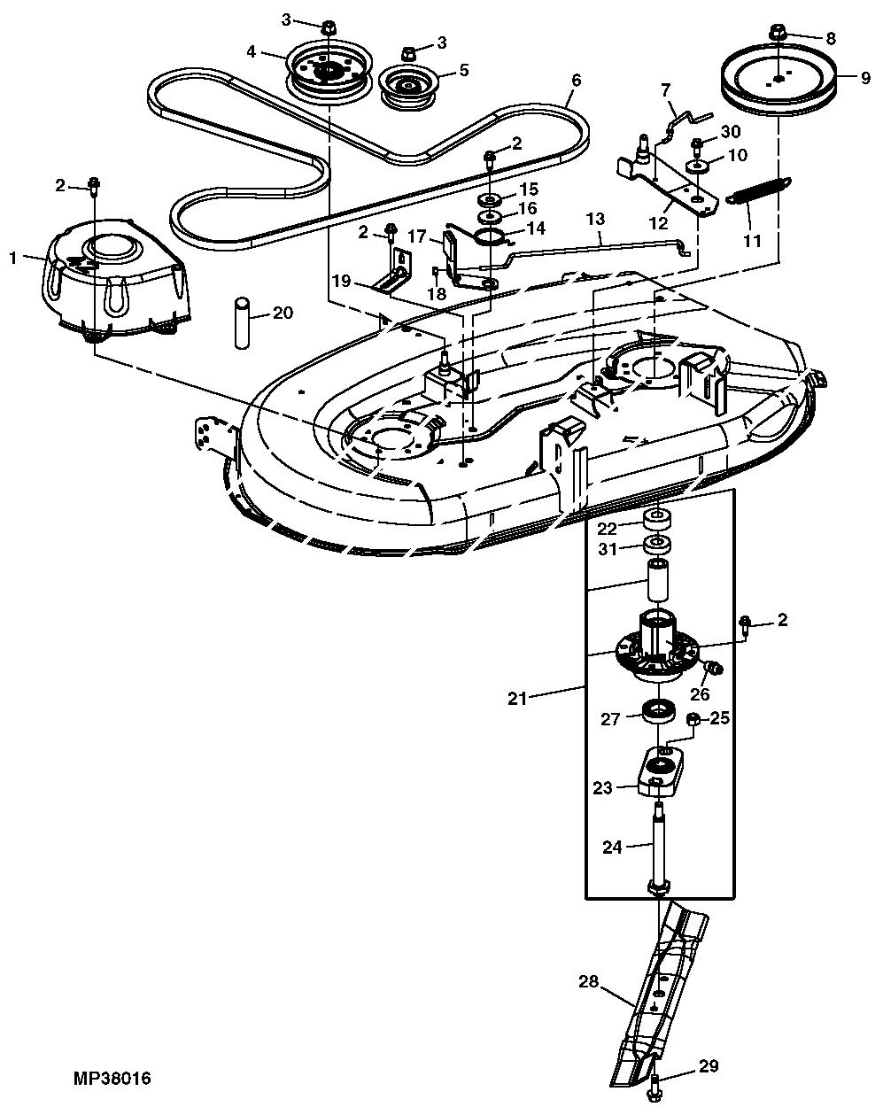 John Deere L110 Deck Parts Tractor Wiring Harness Diagram Model Lawn Greenpartstore