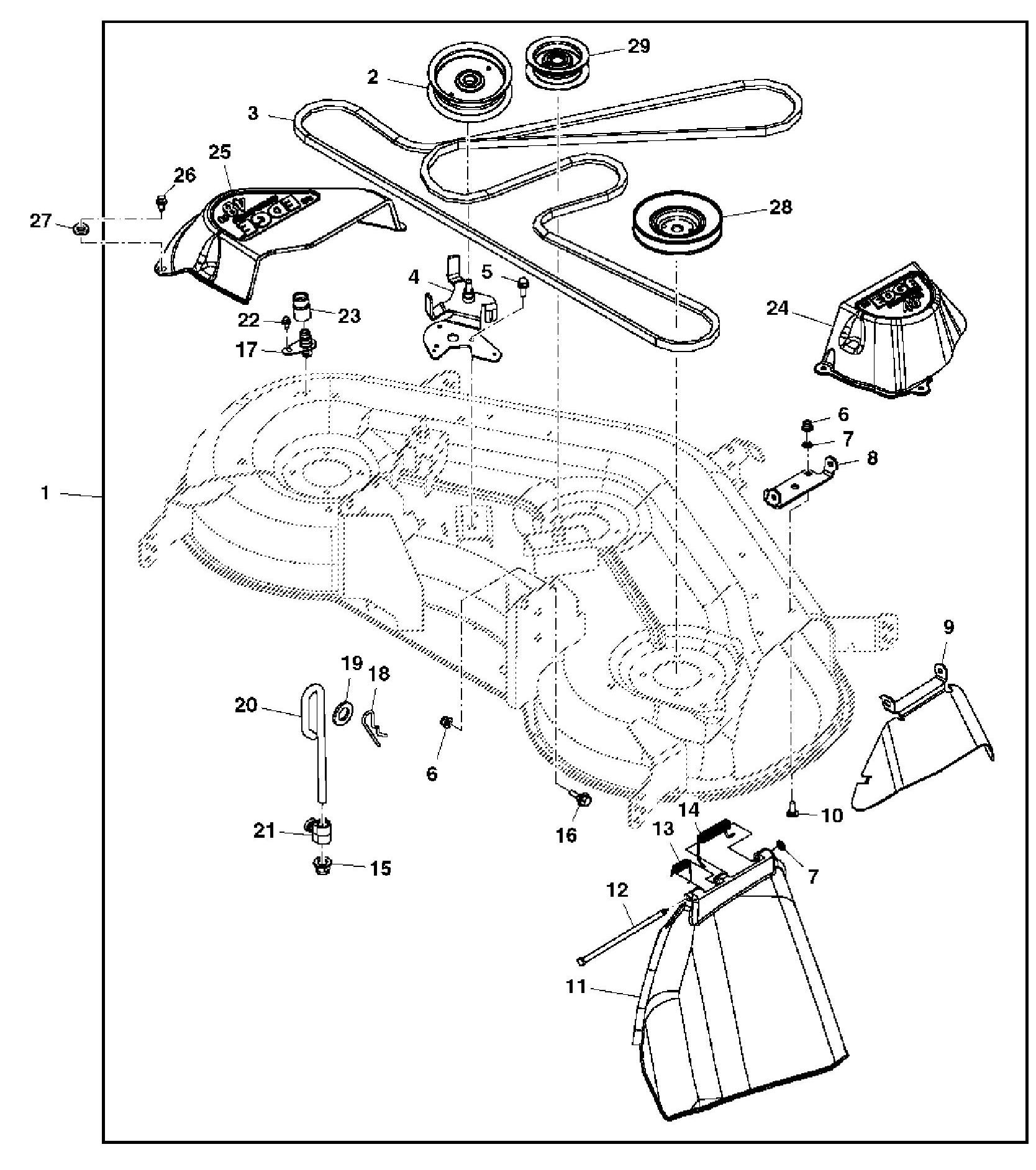 John Deere Mower Deck Parts L107 Belt Drive And Idlers Exploded Diagram Quick Reference Guides Johndeerecom