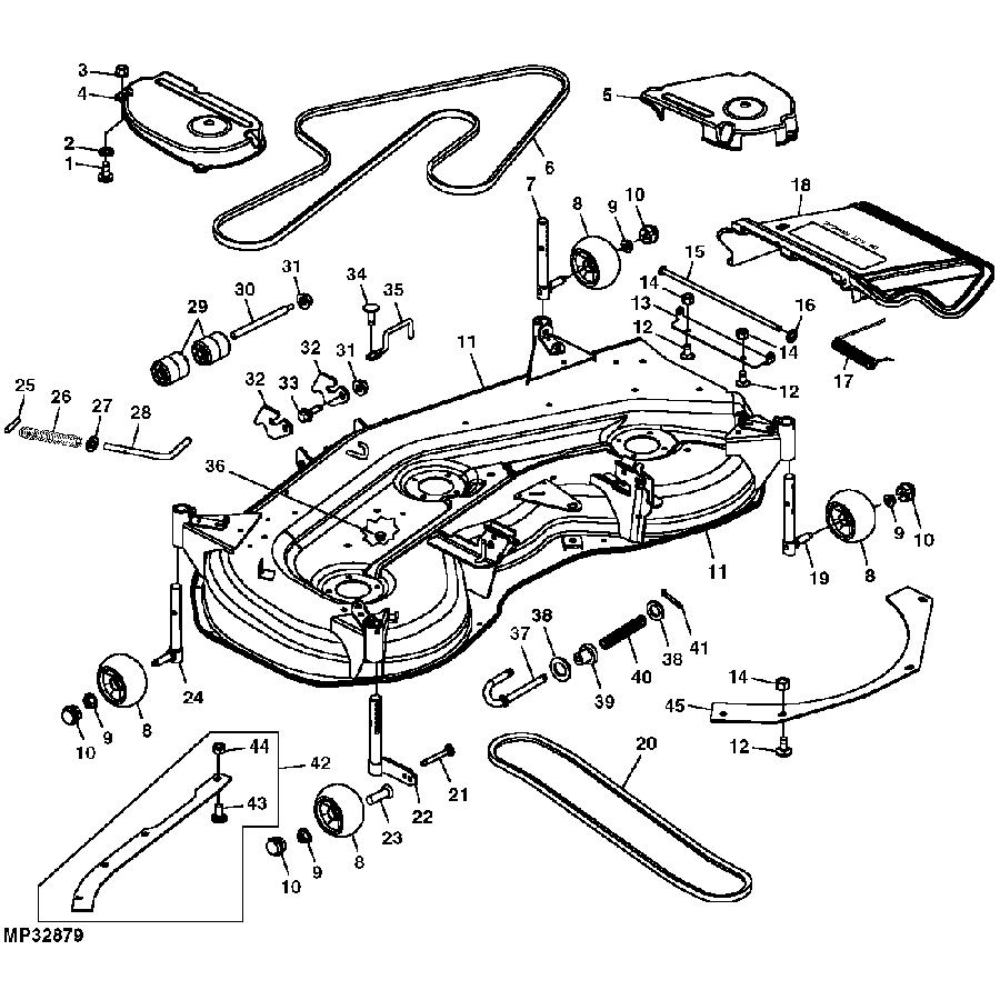 John Deere Mower Deck Parts Deerex140 Beltsheavesspindles And Blades Exploded Diagram Replacement Part Lawn