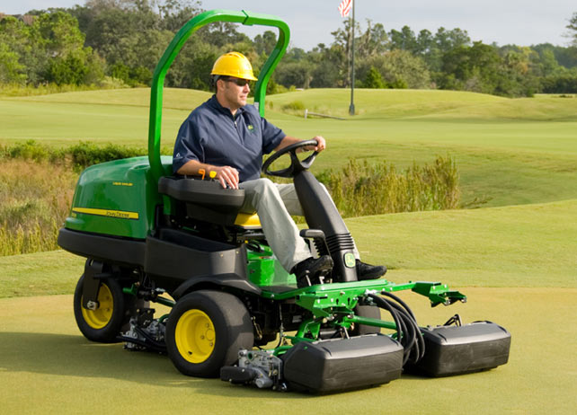 john deere riding greens mowers